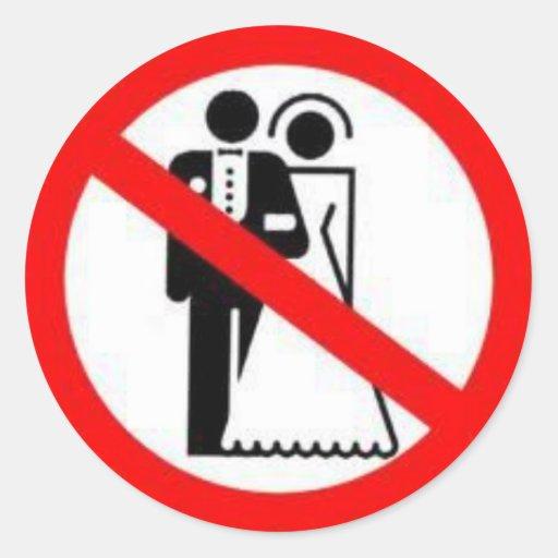 Boda del heterosexual de la prohibición etiqueta redonda
