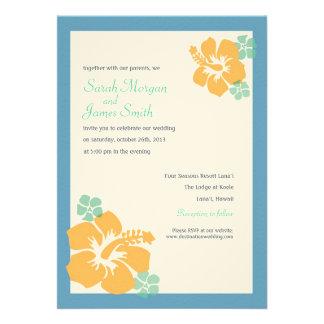 Boda del hibisco flores hawaianas naranja azul anuncios
