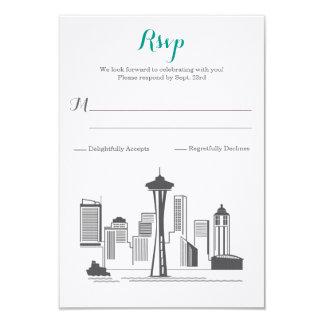 """Boda del horizonte de RSVP Seattle Invitación 3.5"""" X 5"""""""