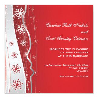 Boda del invierno del copo de nieve del gris rojo, invitaciones personalizada