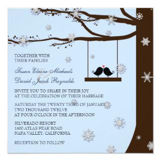"""Boda del invierno del roble de los copos de nieve invitación 5.25"""" x 5.25"""""""