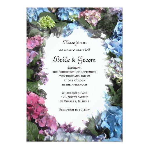 """Boda del marco de la flor del Hydrangea Invitación 5"""" X 7"""""""