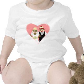Boda del mono del calcetín trajes de bebé