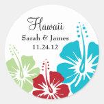Boda del monograma de la flor del hibisco etiqueta redonda