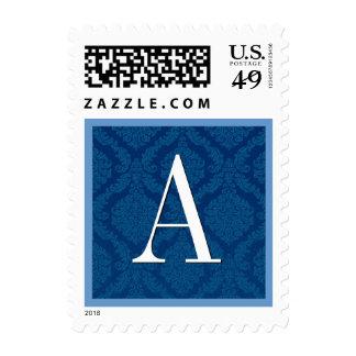 Boda del monograma del damasco del azul real timbres postales