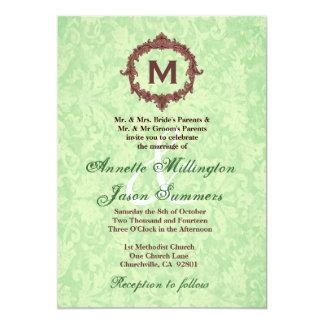 Boda del monograma del marco del chocolate del invitación personalizada