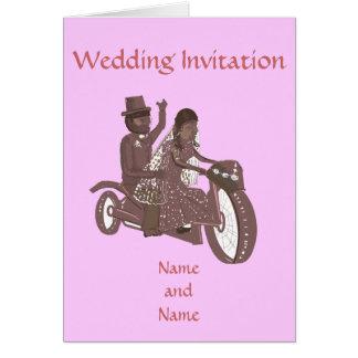 Boda del motorista, asiento trasero de motocicleta tarjeta de felicitación