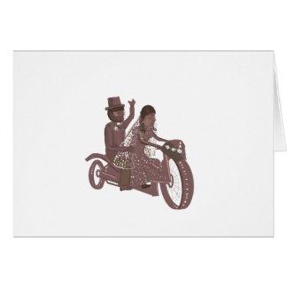 Boda del motorista, asiento trasero de motocicleta felicitacion