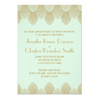 Boda del oro de la menta de la concha de peregrino invitación 12,7 x 17,8 cm