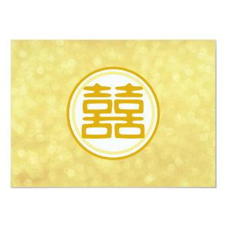 Boda del oro • Felicidad doble • Redondo Invitación 11,4 X 15,8 Cm