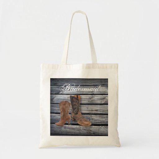boda del país de las botas de vaquero del barnwood bolsa de mano