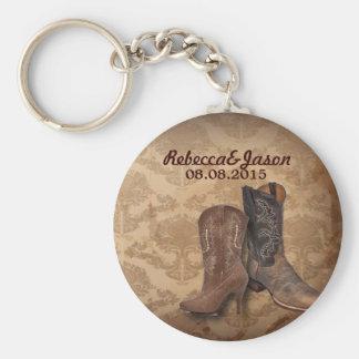 boda del país de las botas de vaquero del damasco  llavero personalizado