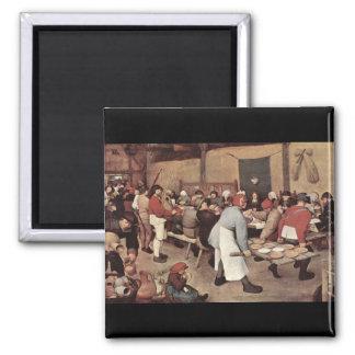Boda del país de Pieter Bruegel Imán Cuadrado