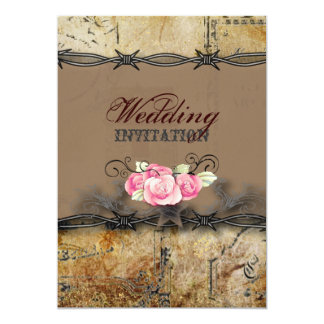 """boda del país occidental del alambre de púas invitación 5"""" x 7"""""""