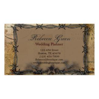 boda del país occidental del alambre de púas tarjetas de visita