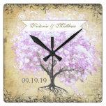 Boda del pájaro del vintage del árbol de la lavand reloj de pared