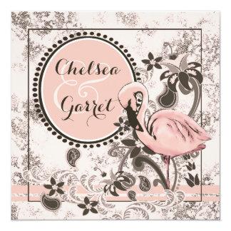 Boda del paraíso del flamenco invitación 13,3 cm x 13,3cm