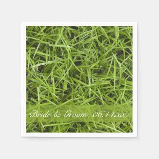 Boda del patio trasero de la hierba verde servilletas de papel