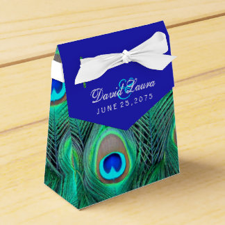 Boda del pavo real del azul real caja para regalo de boda