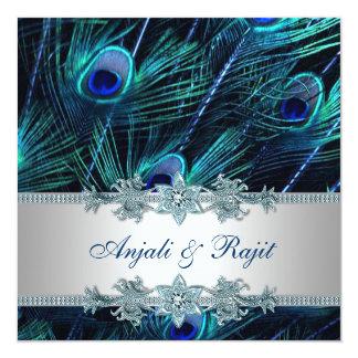 Boda del pavo real del azul real de la plata del comunicados personalizados