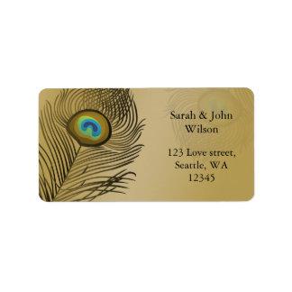 boda del pavo real del oro etiquetas de dirección