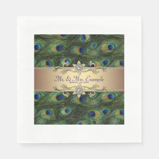 Boda del pavo real del oro servilletas de papel