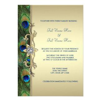 Boda del pavo real del verde esmeralda y del oro invitación personalizada