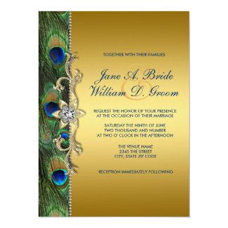 """Boda del pavo real del verde esmeralda y del oro invitación 5.5"""" x 7.5"""""""