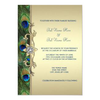 """Boda del pavo real del verde esmeralda y del oro invitación 5"""" x 7"""""""