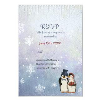 Boda del pingüino con los copos de nieve - RSVP Invitación 8,9 X 12,7 Cm