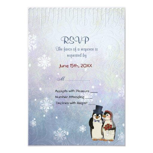 """Boda del pingüino con los copos de nieve - RSVP Invitación 3.5"""" X 5"""""""