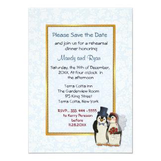 Boda del pingüino - invitación de la cena del