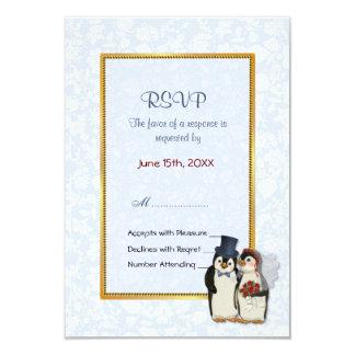 Boda del pingüino - RSVP Invitación 8,9 X 12,7 Cm