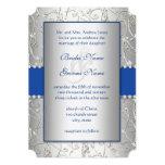 Boda del remolino de la plata del azul real del invitación 12,7 x 17,8 cm