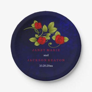 Boda del rosa azul marino y rojo platos de papel