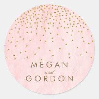 Boda del rosa del confeti del oro del vintage pegatina redonda