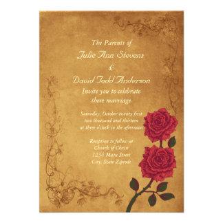 Boda del rosa rojo del vintage invitacion personal