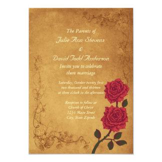 Boda del rosa rojo del vintage invitación 12,7 x 17,8 cm