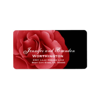 Boda del rosa rojo etiqueta de dirección