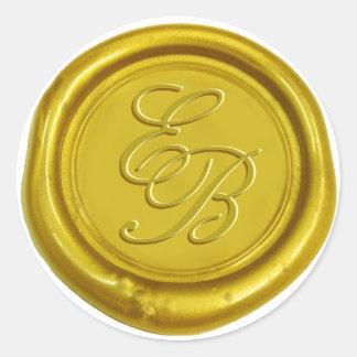 Boda del sello de la cera del monograma de la pegatina redonda