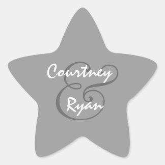 Boda del sello del sobre de los gris plateados pegatina en forma de estrella