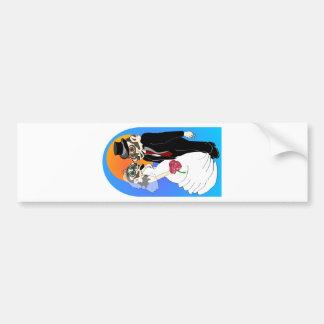 Boda del tejón pegatina de parachoque