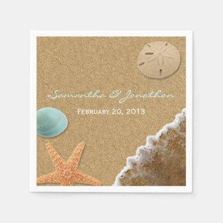 Boda del tema de la arena y de la playa de las cás servilleta desechable