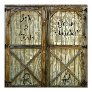 Boda del vaquero de la puerta de granero invitación 13,3 cm x 13,3cm