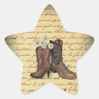 boda del vaquero del país occidental del vintage pegatina en forma de estrella