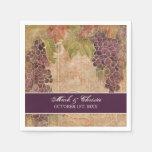 Boda del viñedo de la uva de las servilletas de la servilletas desechables