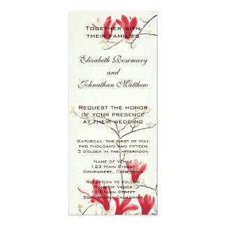 """Boda del vintage, árbol de la magnolia del rosa invitación 4"""" x 9.25"""""""