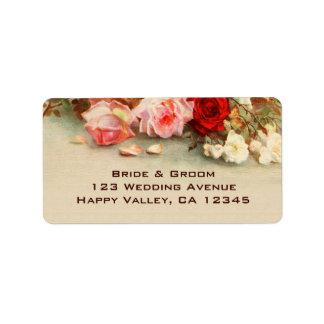 Boda del vintage, arte floral de las flores color etiqueta de dirección