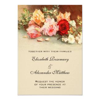 Boda del vintage, arte floral de las flores color invitación 12,7 x 17,8 cm
