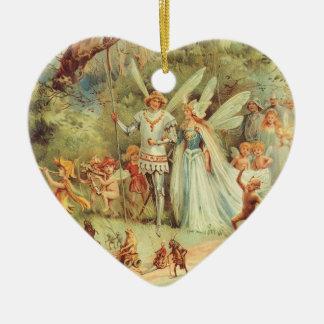 Boda del vintage de Thumbelina y del príncipe Adorno Navideño De Cerámica En Forma De Corazón